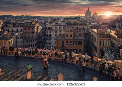 September 2017 - Rome, Italy - Crowded Spagna district in Rome at sunset
