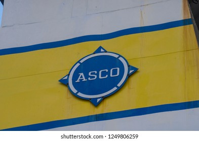 "September, 2018 - Arkhangelsk. Logo and logo of the shipping company ""ASCO"""
