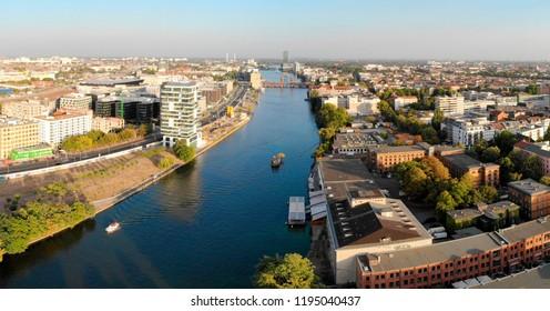 SEPTEMBER 2018 - BERLIN: aerial image panoramic view of the skyline of Berlin with the Spree river, Oberbaumbruecke, Berlin-Kreuzberg.