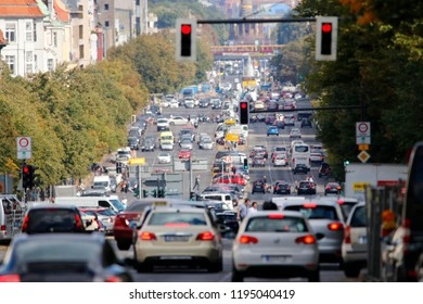 "SEPTEMBER 2018 - BERLIN: traffic on the Heerstrasse in the Charlottenburg district of Berlin, in the background the ""Siegessaeule"" (Victory Column) and Rote Rathaus (CityHall)."