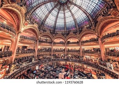 September 2018 - Boulevard Haussmann, Paris, France  - Galeries Lafayette shopping mall in Paris