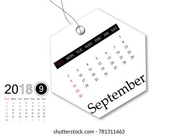 September 2018 - Calendar series for tag design