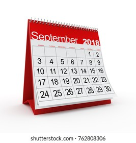September 2018 Monthly Calendar. 3d rendered illustration.