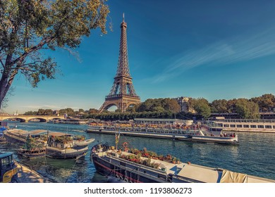 September 2018 - Paris, France - Eiffel Tower in Paris in tourist season