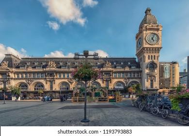 September 2018 - Paris, France - Gare De Lyon railway station in Paris in daytime