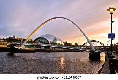 September 2018: The Sage, Newcastle. The Sage theatre and Millenium bridge at sundown time.