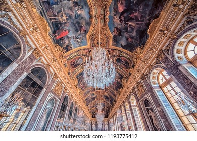September 2018 - Versailles, France - Hall of Mirrors ceiling in Versailles palace near Paris