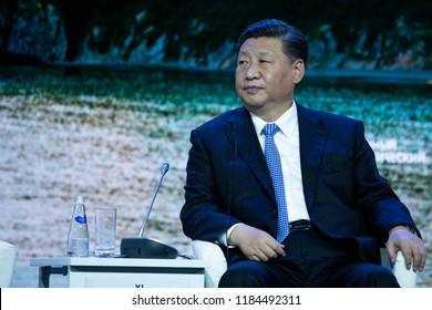September, 2018 - Vladivostok, Primorsky Krai - Chairman of the People's Republic of China Xi Jinping's Quit at the Eastern Economic Forum in Vladivostok