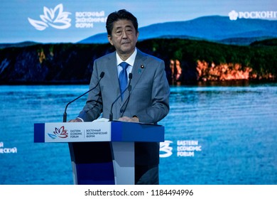 September, 2018 - Vladivostok, Primorsky Krai - Prime Minister of Japan Shinzo Abe's Seizure at the 4th Eastern Economic Forum in Vladivostok