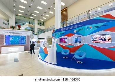 September, 2018 - Vladivostok, Primorye Territory-Stands for the IV Eastern Economic Forum on the island of RUSSIAN in Vladivostok