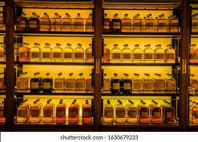 September 2019. A shelf with bottles of whiskey of various blends from the Alcohol Library. Yamazaki. Japan.