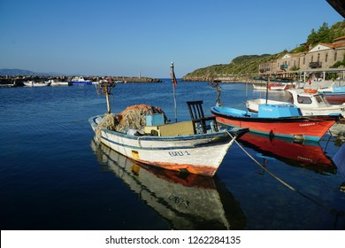 September 20,2018- Assos, Canakkale, Turkey. Fishing boats in the ancient harbour in the morning.