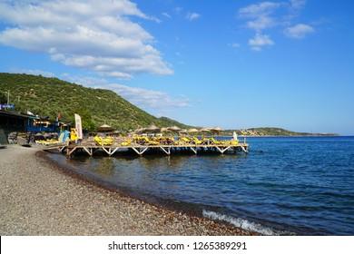 September 20,2018- Assos, Canakkale, Turkey. Pebble beach of the town.