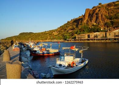 September 20,2018- Assos, Çanakkale, Turkey. Ancient harbor in the early morning.