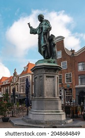 September 2021, Center of Haarlem with the statue of Laurens Janszoon Coster - the Netherlands