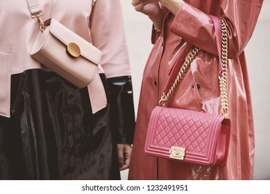 September 21, 2018: Milan, Italy -  Influencer wearing a Chanel purse during Milan Fashion Week - street style concept - MFWSS19