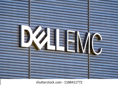 September 21, 2018 Santa Clara / CA / USA - DELL EMC logo on the headquarters building located in Silicon Valley, south San Francisco bay area