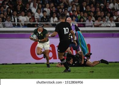 September 21, 2019, Yokohama, Japan, The 2019 Rugby World Cup Pool B match between New Zealand and South Africa at Nissan Stadium,Yokohama.
