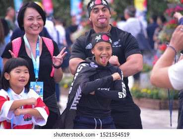 September 21, 2019, Yokohama, Japan, fans enjoying the 2019 Rugby World Cup atmosphere outside the Yokohama International Stadium before the New Zealand All Blacks game