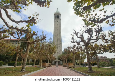September 22, 2015 - Berkeley, California: View of Sather Tower aka The Campanile (clock tower), with clocks on its four faces, on the UC Berkeley campus.