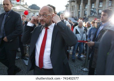 SEPTEMBER 22, 2017 - BERLIN: the Social Democratic challanger of Chancellor Merkel, Martin Schulz of the SPD at an election campaign rally for the general electuions in Germany, Gendarmenmarkt.