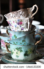 September 22, 2017, Southern CA, USA: A stack of fine china teacups stand ready for service.