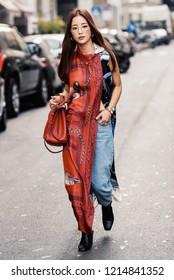 September 22, 2018: Milan, Italy -  Street style outfit during Milan Fashion Week - MFWSS19