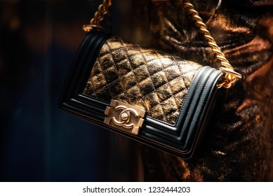 September 22, 2018: Milan, Italy -  Chanel handbags in a store in Milan.