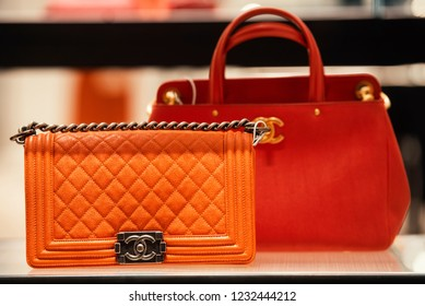 September 22, 2018: Milan, Italy -  Chanel handbags in a store in Milan.