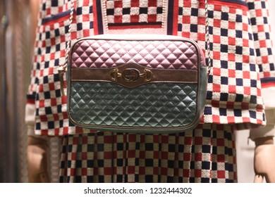 September 22, 2018: Milan, Italy -  Gucci luxury handbag in a store in Milan.