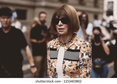 September 22, 2018: Milan, Italy -  Vogue Fashion Editor Anna Wintour during Milan Fashion Week - MFWSS19