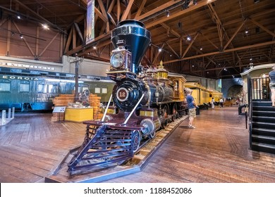 September 22, 2018 Sacramento / CA / USA - Historic locomotive displayed at the California State Railroad Museum