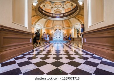 September 22, 2018 Sacramento / CA / USA - People visiting the California State Capitol; The building serves as both a museum and the state's working seat of government