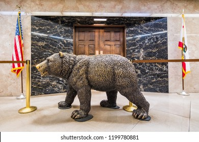 September 22, 2018 Sacramento / CA / USA - California Grizzly Bear statue placed in front of the Governor's office in the California Capitol State Building