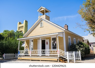 September 22, 2018 Sacramento / CA / USA - The Old Sacramento schoolhouse museum building is a living replica of traditional one-room schoolhouses found throughout America in the late 1800s