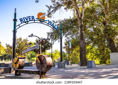 September 22, 2018 West Sacramento / CA / USA - Sign posted at the entrance to River Walk Park, on the shore of Sacramento river