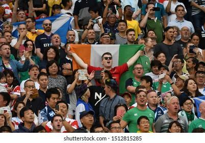 September 22, 2019, Yokohama, Japan, Supporters at The 2019 Rugby World Cup Pool A match between Ireland and Scotland at Nissan Stadium, Yokohama.