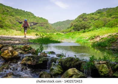 September 22nd 2015, Salalah Oman, A group of adventurers enjoying the beautiful luscious greenery of Salalah during Khareef