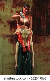 """SEPTEMBER 23, 2006 - BERLIN: Constanze Becker, Katharina Schmalenberg in a scene of the theater play """"Orestie"""" (by Aischylon,director: Michael Thalheimer), Deutsches Theater, Berlin."""