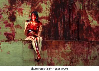 """SEPTEMBER 23, 2006 - BERLIN: Constanze Becker in a scene of the theater play """"Orestie"""" (by Aischylon,director: Michael Thalheimer), Deutsches Theater, Berlin."""