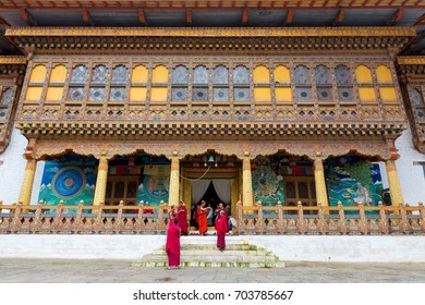 September 23, 2015- Punakha Dzong, Punakha, Bhutan: Monks just finished a ceremony.