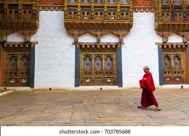 September 23, 2015- Punakha Dzong, Punakha, Bhutan: Monk is walking back to his residence in Punakha Dzong.