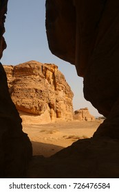 September 23, 2017 - Al-Ula, Saudi Arabia: A small pathway or siq at Madain Saleh becomes a natural frame of one of the tombs