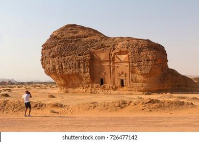 September 23, 2017 - Al-Ula, Saudi Arabia: A tourist photographs Area C tombs at Madain Saleh Heritage Site