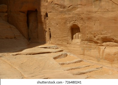 September 23, 2017 - Al-Ula, Saudi Arabia:The Jebel Ithlib sanctuary, located at the end of the Siq corridor opposite to Al-Diwan, has a carved stairs that leads to shrines or altars.