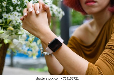 September 23 2017, Ho Chi Minh city, Vietnam: On hand smart watch Apple series 3.