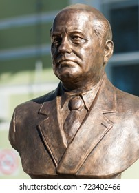 September 23, 2017 Moscow Russia Bust of the USSR President Mikhail Gorbachev made by Zurab Tsereteli on the Rulers Alley in Moscow.
