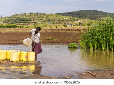 September 23, 2017 Near Kagoro, Nyanza Provience, Kenya, Africa.  African woman filling yellow water containers with stream water for a building site. Rural scene. Rural, East Africa.