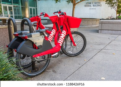 September 23, 2018 Sacramento / CA / USA - Jump electric bikes parked on the Capitol Mall; JUMP Bikes is a dockless electric bicycle sharing system acquired by UBER; it operates in US and Germany