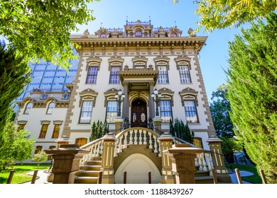 September 23, 2018 Sacramento / CA / USA - Exterior view of the Leland Stanford Mansion located in downtown Sacramento; is designated a historical landmark and is operated by California State Parks;
